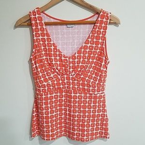 Boden orange and white tank top size 8
